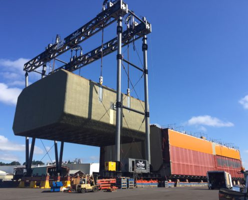 Blue Steel Welding fabricated the structural steel and constructed the metal framework for OXBO Mega Marine Gantry.